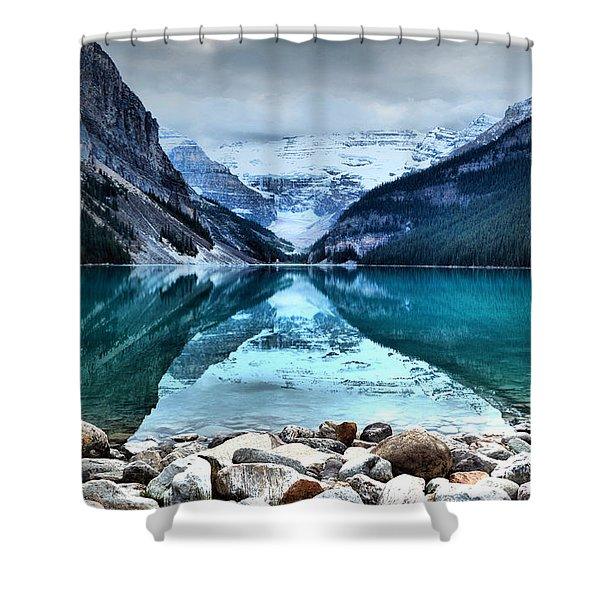 A Still Day At Lake Louise Shower Curtain