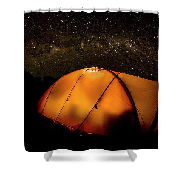 A Tent Illuminates The Night Shower Curtain