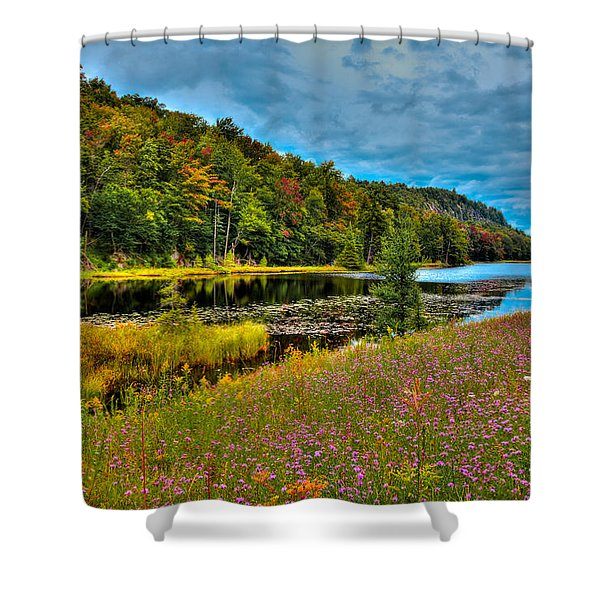 Summer Flowers On Bald Mountain Pond Shower Curtain