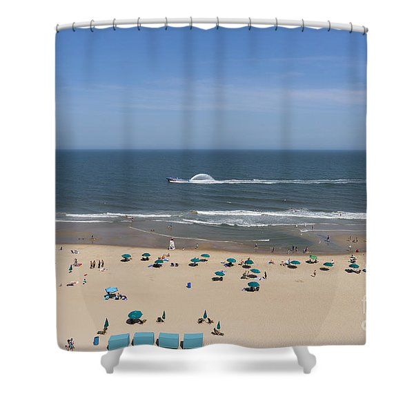 A Touring Speedboat Passes By Shore In Ocean City Maryland Shower Curtain