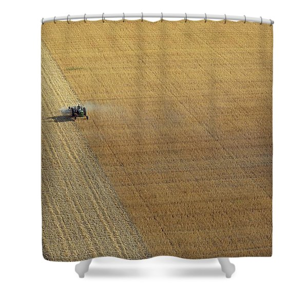 A Tractor Harvesting Photo Shower Curtain