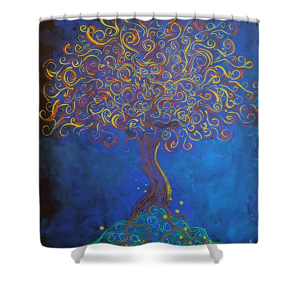 A Tree Of Orbs Glows Shower Curtain