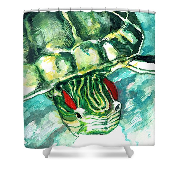 A Turtle Who Likes To Eat Fish Shower Curtain