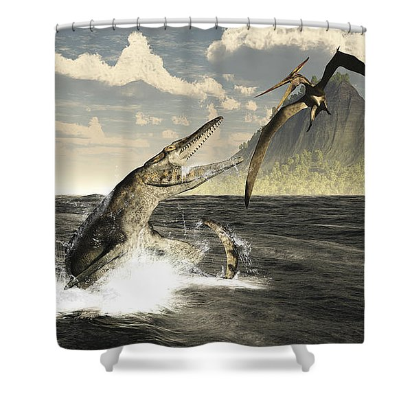 A Tylosaurus Jumps Out Of The Water Shower Curtain