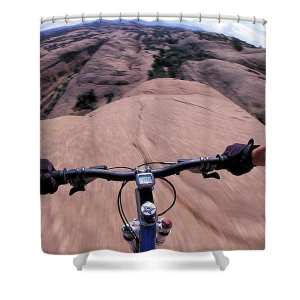 A View Of A Female Mountain Bikers Shower Curtain