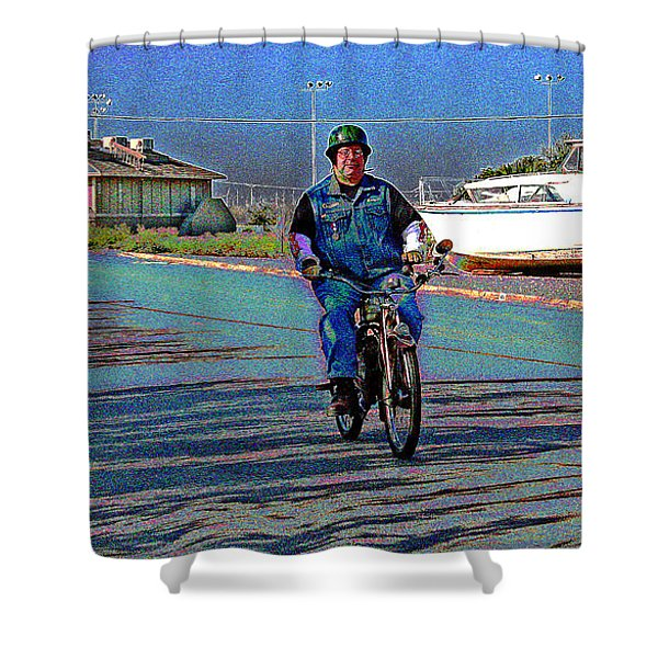 A Vintage Whizz Leading Shower Curtain