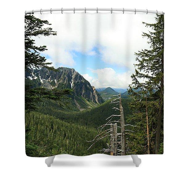 A Vista - Mt. Rainier National Park Shower Curtain