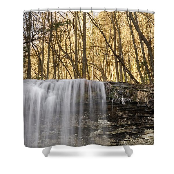 A Waterfall Drops Over A Cliff Shower Curtain