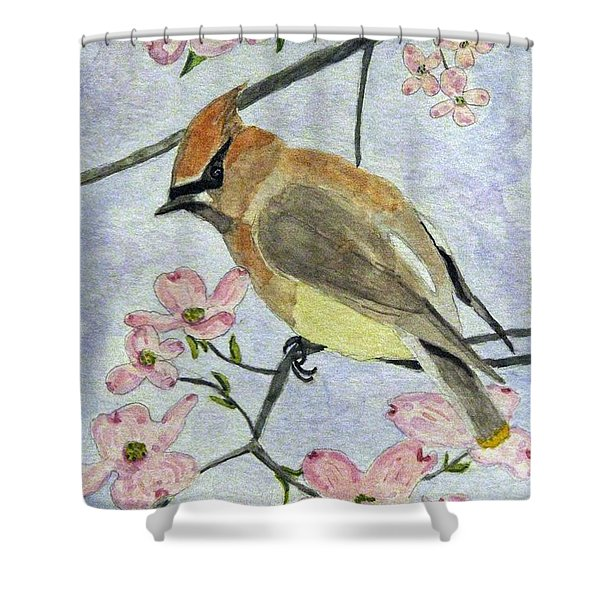 A Waxwing In The Dogwood Shower Curtain