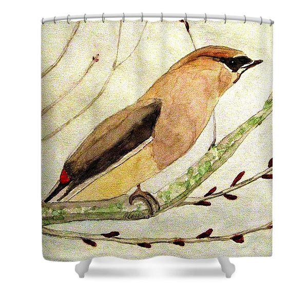 A Waxwing In The Orchard Shower Curtain