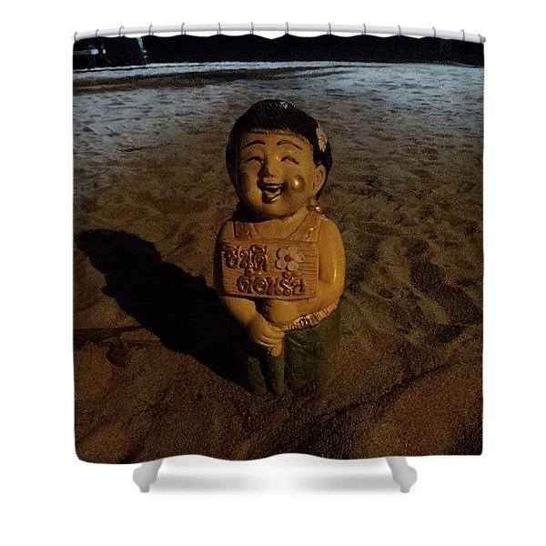 Shower Curtain featuring the photograph A Welcoming Friend On My Night Stroll by Mr Photojimsf