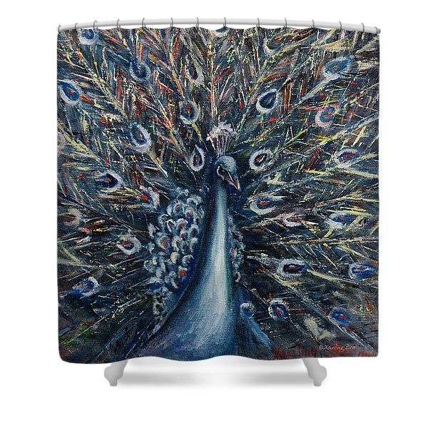 A White Peacock Shower Curtain