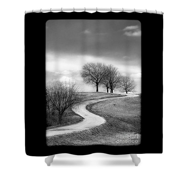 A Winding Country Road In Black And White Shower Curtain