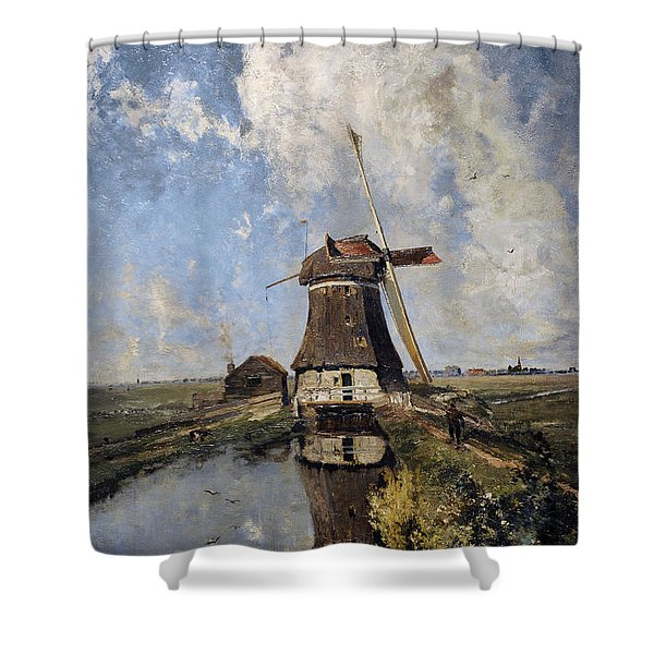 A Windmill On A Polder Waterway, Known As In The Month Of July, C. 1889, By Paul Joseph Constantin Shower Curtain