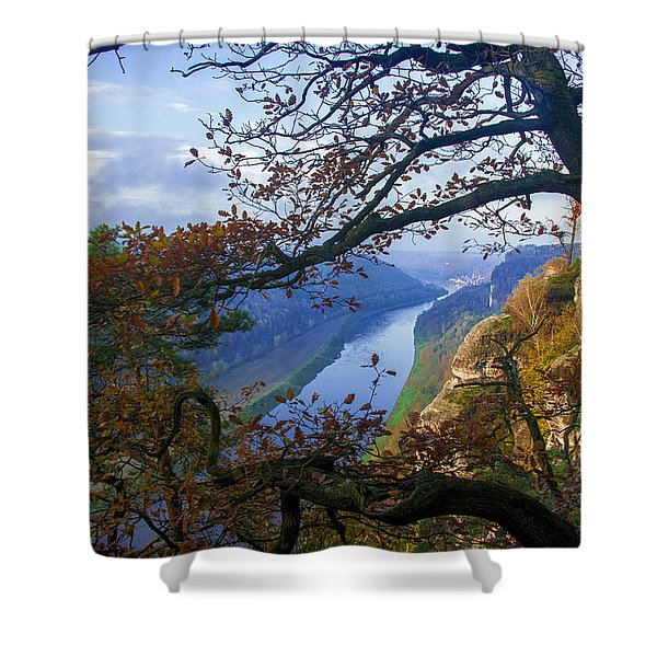 A Window To The Elbe In The Saxon Switzerland Shower Curtain