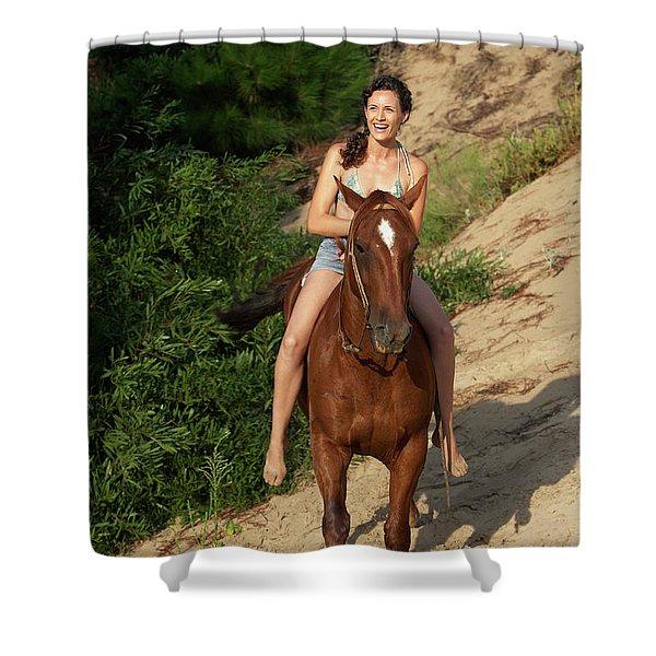 A Woman Horseback Riding Down Hill Shower Curtain