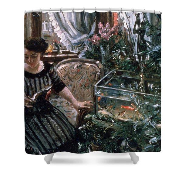 A Woman Reading Near A Goldfish Tank Shower Curtain