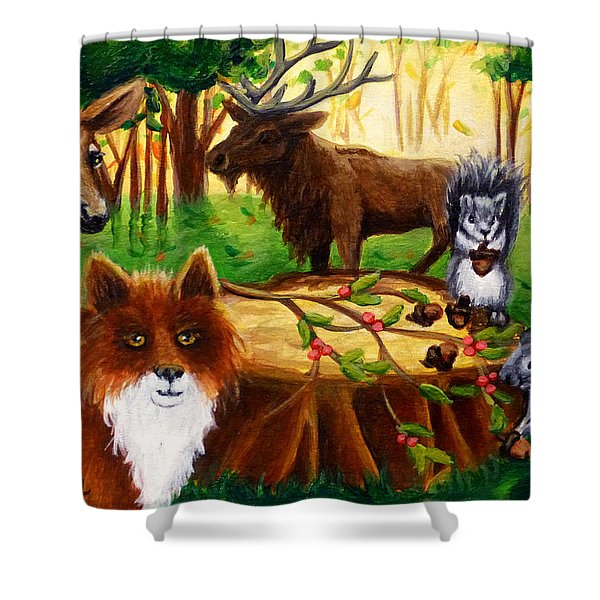 A Woodland Thanksgiving Shower Curtain
