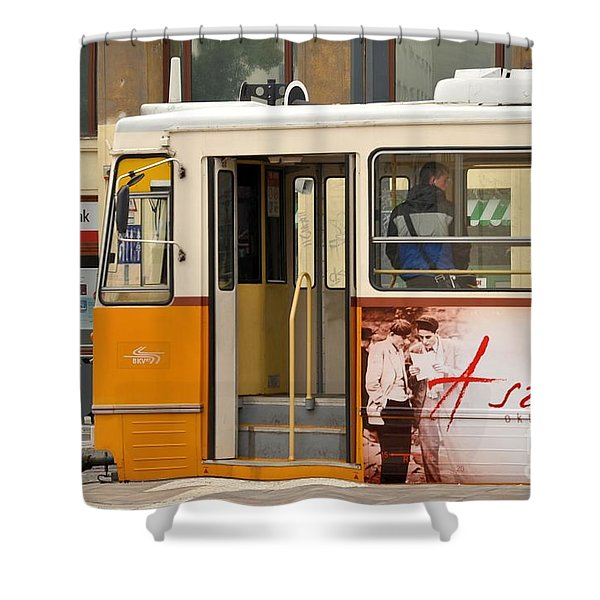 A Yellow Tram On The Streets Of Budapest Hungary Shower Curtain