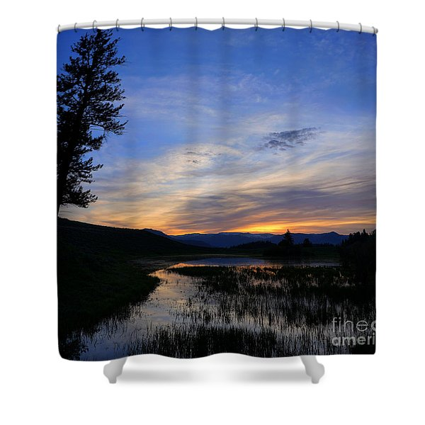A Yellowstone Lake Before Sunrise Shower Curtain