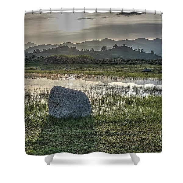 A Yellowstone Sunrise And Hazy Morning Ridges Shower Curtain