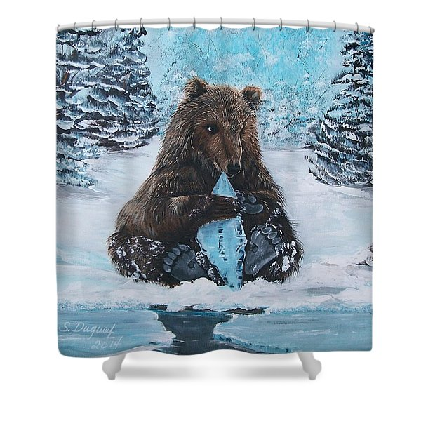 A Young Brown Bear Shower Curtain