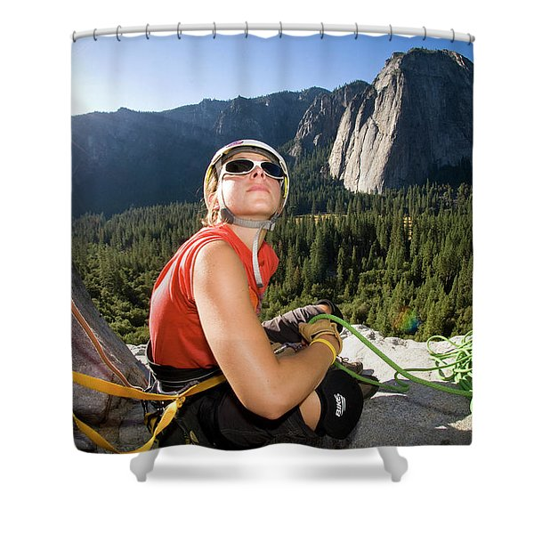 A Young Female Climber Manages The Rope Shower Curtain