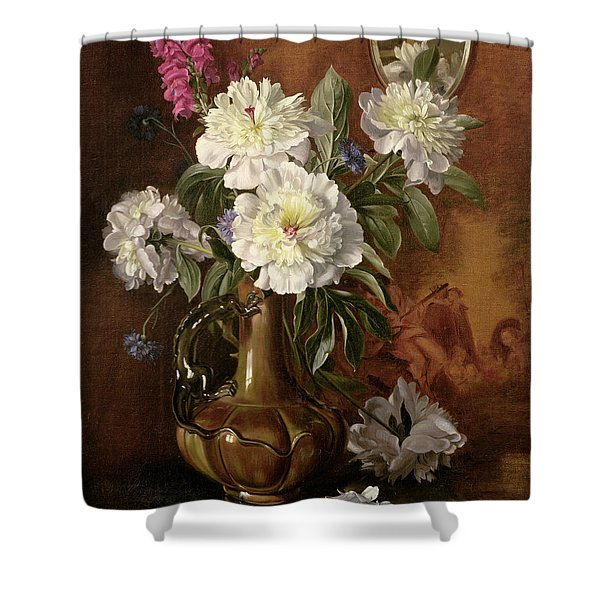 White Peonies In A Glazed Victorian Vase Shower Curtain