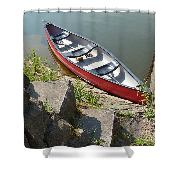 Abandoned Boat At The Quay Shower Curtain