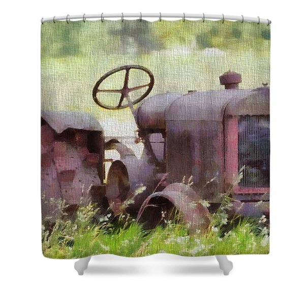 Abandoned Tractor On The Farm Shower Curtain