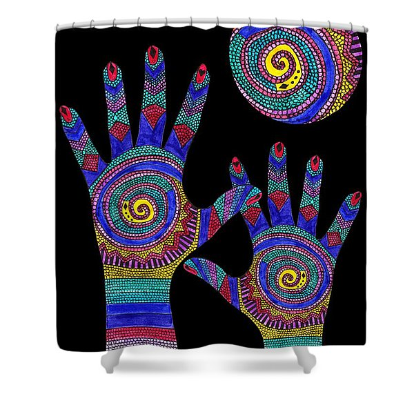Aboriginal Hands To The Sun Shower Curtain