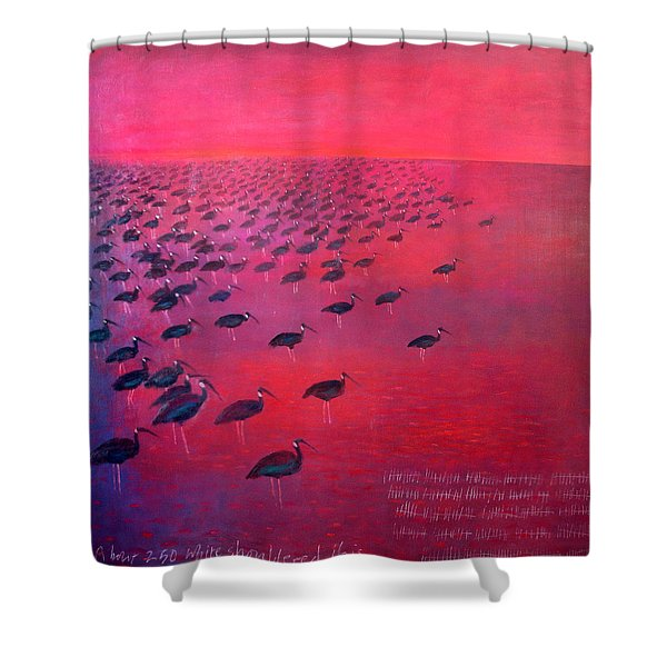 About 250 White Shouldered Ibis Oil On Canvas Shower Curtain