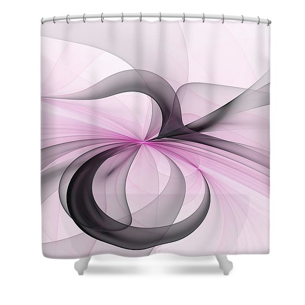 Abstract Art Fractal With Pink Shower Curtain