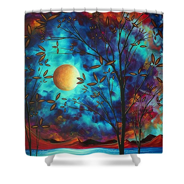 Abstract Art Landscape Tree Blossoms Sea Moon Painting Visionary Delight By Madart Shower Curtain