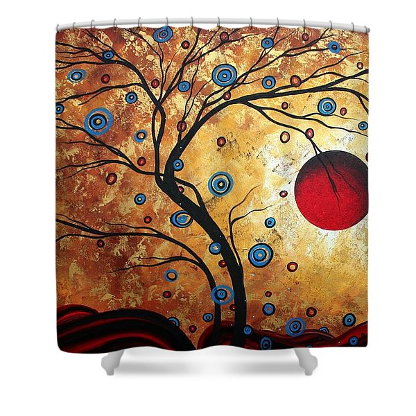 Abstract Art Landscape Tree Metallic Gold Texture Painting Free As The Wind By Madart Shower Curtain