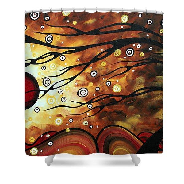 Abstract Art Original Circle Painting Flaming Desire By Madart Shower Curtain