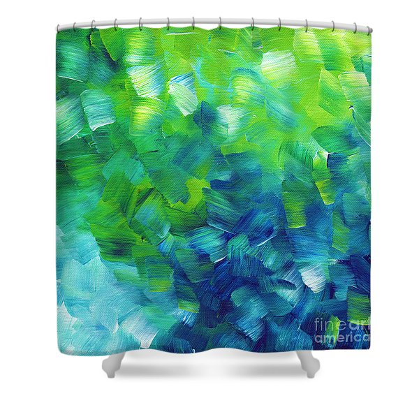 Abstract Art Original Textured Soothing Painting Sea Of Whimsy I By Madart Shower Curtain