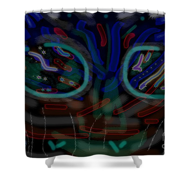 Abstract Black Blue Shower Curtain