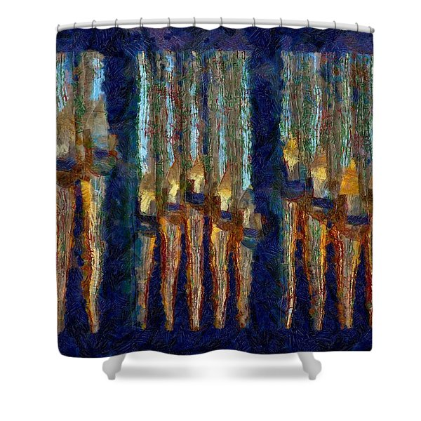 Abstract Blue And Gold Organ Pipes Shower Curtain