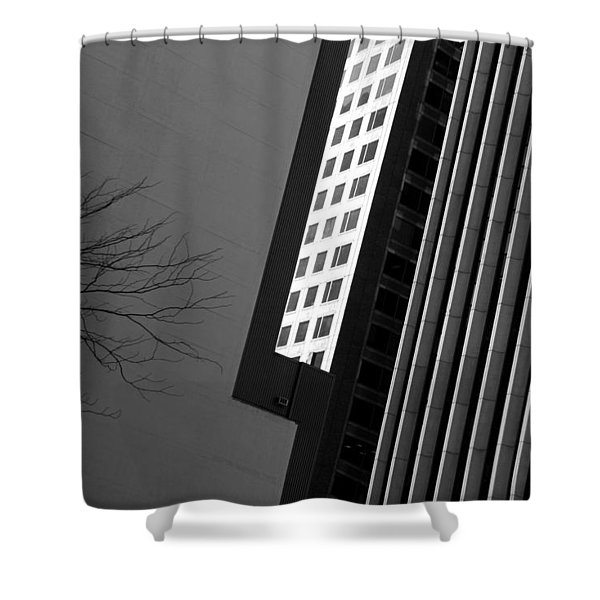 Abstract Building Patterns Black White Shower Curtain