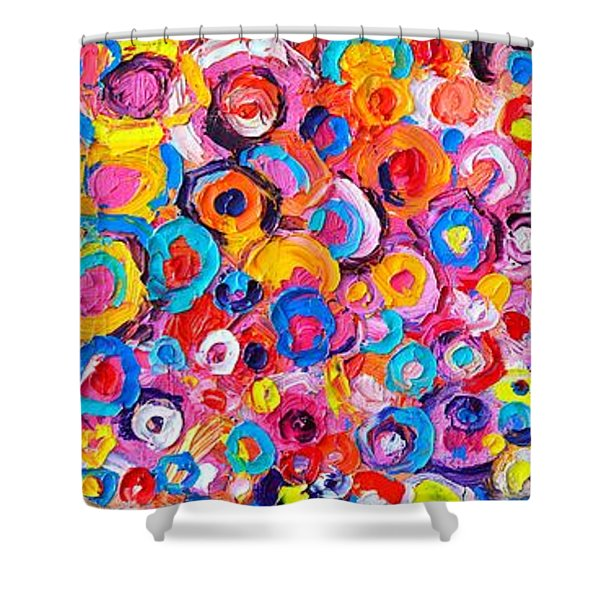 Abstract Colorful Flowers Triptych  Shower Curtain