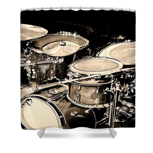 Abstract Drum Set Shower Curtain