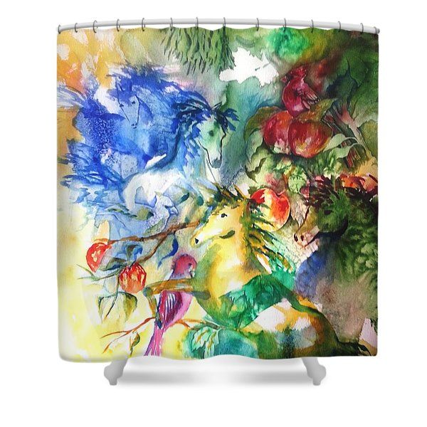 Abstract Horses Shower Curtain