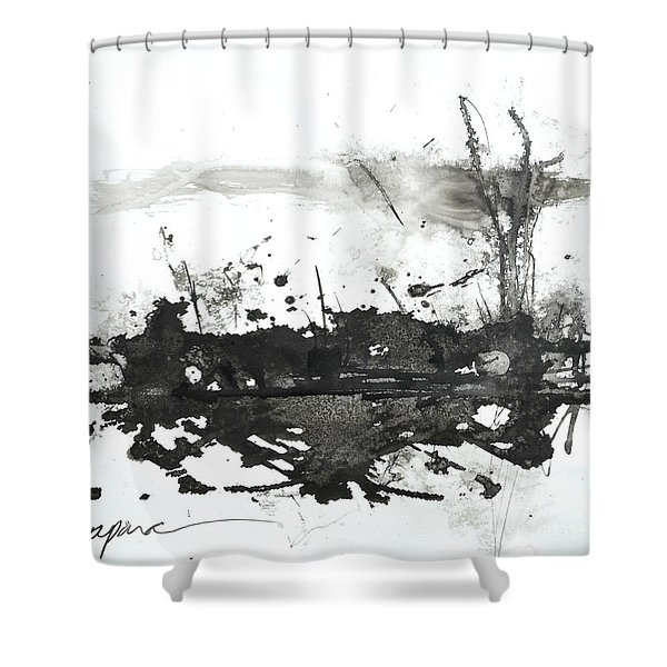 Modern Abstract Black Ink Art Shower Curtain