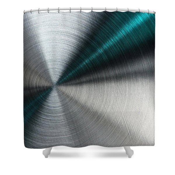 Abstract Metallic Texture With Blue Rays. Shower Curtain