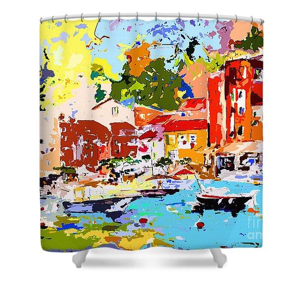 Abstract Portofino Italy Decorative Art Shower Curtain