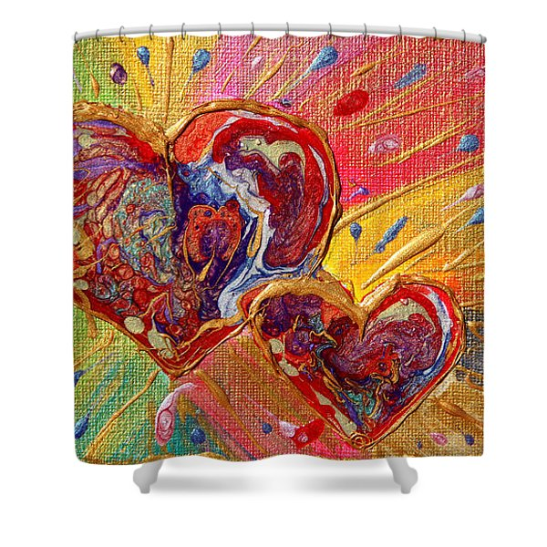 Abstract Valentines Love Hearts Shower Curtain