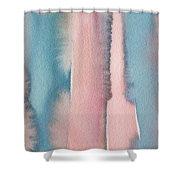 Abstract Watercolor Painting - Coral And Teal Blue Wide Stripes Shower Curtain