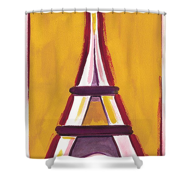 Abstract Yellow Red Eiffel Tower Shower Curtain
