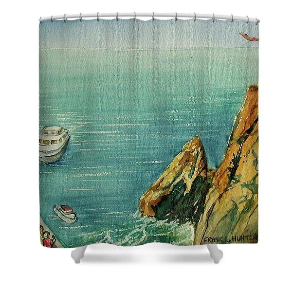 Acapulco Cliff Diver Shower Curtain